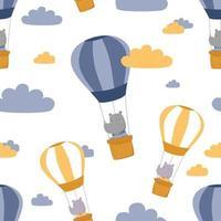 Cute rhino riding hot air balloon cartoon doodle seamless pattern vector