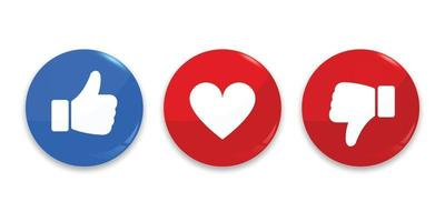 Thumb up, down and heart icon. vector
