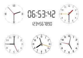 Set of analog and digital clock faces on white background. Clock hands. vector