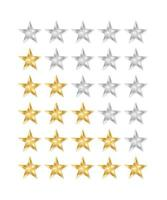 Golden and silver stars. 5 star rating icon. vector