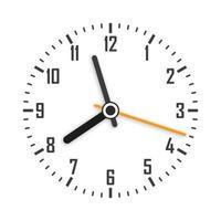 cara de reloj con sombra sobre fondo blanco. manecillas del reloj. vector