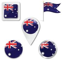 Set of icons of the national flag of Australia in different designs on a white background. Realistic vector illustration. Button, pointer and checkbox.