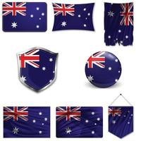 Set of the national flag of Australia in different designs on a white background. Realistic vector illustration.
