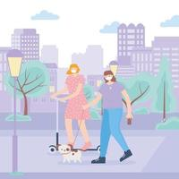 people doing outdoor activities with face masks vector