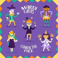 Pack of 5 Characters for Mardi Gras vector