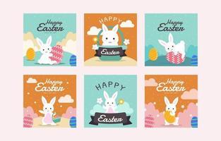 Easter Bunny Social Media Post Set vector