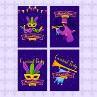Mardi Gras Greeting Cards Set vector