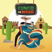 Mexican Couple are Dancing Celebrating Cinco De Mayo vector