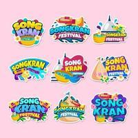 Songkran Sticker Collection vector