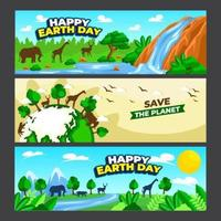 Happy Earth Day Banner Collection vector