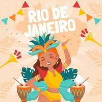 Beautiful Samba Dancers Dancing at Rio Carnaval vector