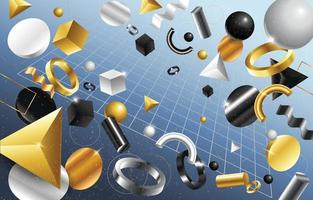 3D Abstract Geometric Shapes Background