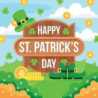 Flat Design St. Patrick's Day with Coins vector