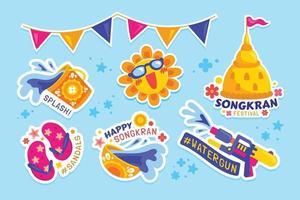 Happy Songkran Festival Sticker Set vector