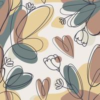 Botanical One Line Art Background vector