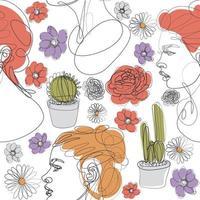 Woman Line Art Pattern vector