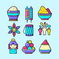 Colorful Happy Holi Icon Set vector