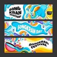 Cartoon Songkran Water Festival Banner Set vector