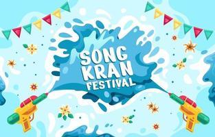 Colorful Songkran Festival Flat Design vector