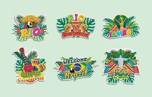 Brazil Rio De Janeiro Carnival Stickers vector