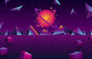 Retro Futurism Planet Background vector
