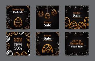 publicación de redes sociales de huevo de pascua elegante oscuro dorado vector