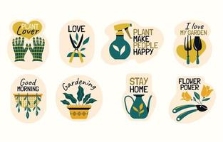 Set of Gardening Stickers with Funny Quotes vector