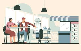 People Ordering Food from Waitress Robot vector