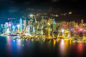 vista aérea de la ciudad de hong kong, china foto