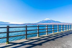 Beautiful view of Mt. Fuji from Lake Yamanakako, Japan photo