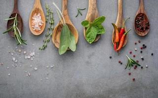 Herbs and spices in wooden spoons on a gray background