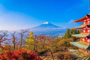 Mt. Fuji with Chureito pagoda in Japan