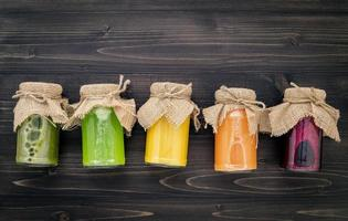 Jars of fruit and veggie juices
