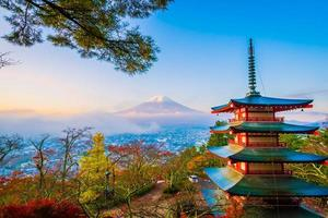 Mt. Fuji with Chureito pagoda in autumn, Japan