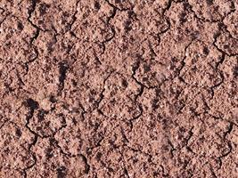 Patch of dry and cracked soil for background or texture photo