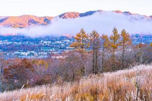 hermoso paisaje en el lago yamanakako, japón foto