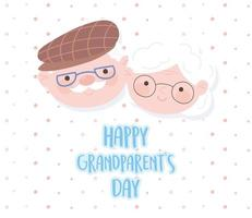 happy grandparents day, cute grandma and grandpa faces cartoon dotted background vector