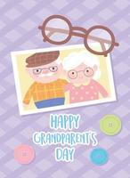 happy grandparents day, grandpa and granny together photo with glasses and buttons decoration cartoon card vector