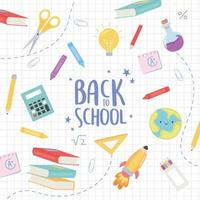 Back to school banner with education icons vector
