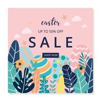 Social media post easter sale template vector