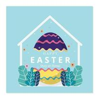 Happy easter stay at home template vector
