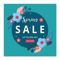 Spring sale banner and social media post template. Vector flat design with flowers.