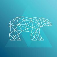 Polar bear, side view. Geometric style. Vector illustration.