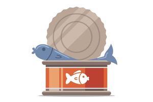 pescado enlatado abierto sobre un fondo blanco. ilustración vectorial plana. vector