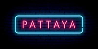 Pattaya neon sign. Bright light signboard. Vector banner.