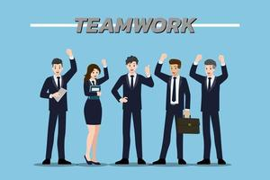 Flat design concept of Businessman and Businesswoman teamwork with different poses, working and presenting vector