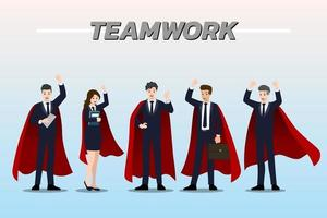 Flat design concept of Businessman and Businesswoman wearing red cape, standing together as teamwork with different poses vector