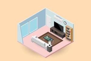Concept room, isometrics 3d composition with a sofa and a large wide screen TV, a living room with many furnitures, a window and door vector modern design.