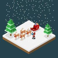 Isometric 3d Santa claus brings a gift with his six reindeers and sleigh in Christmas theme