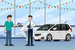 A happy businessman, salesman is standing and give a Vehicle registration book for sell luxury car parked in the show room. vector